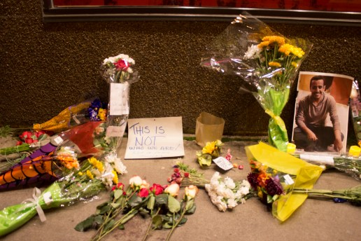 Flowers were left in front of  Toppers by students and community members during Alnahdi's wake.