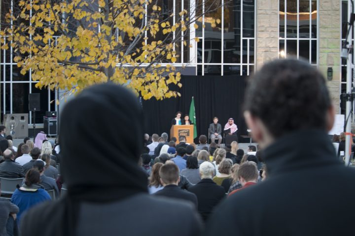 Alnahdi's friends, SSA representatives, and Saudi students all spoke at the memorial service on Thursday, November 3rd.