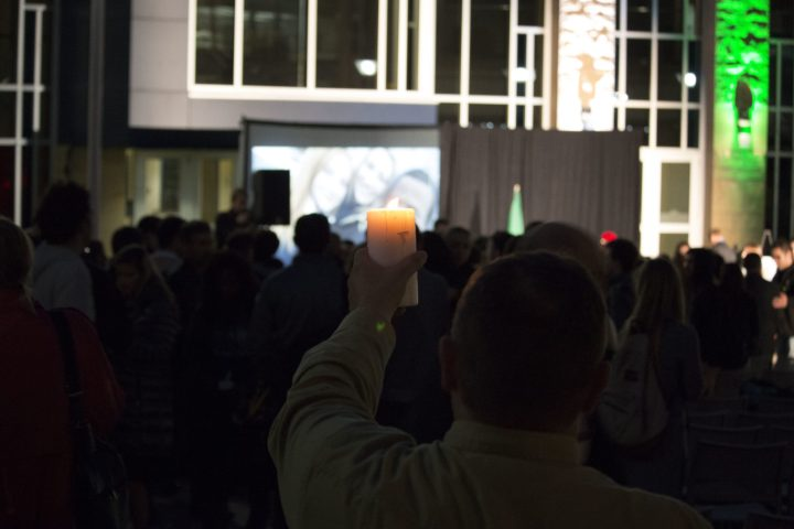 The memorial service concluded with a silent, candlelight vigil.