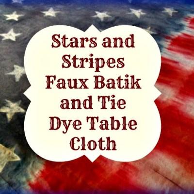 Stars and Stripes Faux Batik Tie Dye Table Cloth