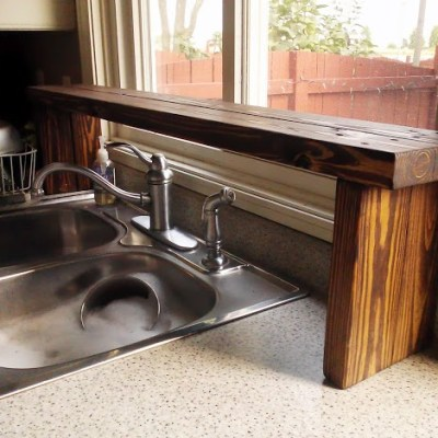 Pallet Wood Over-the-Sink Window Shelf (Kitchen Update 5)