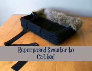 repurposed-sweater-into-a-cat-bed
