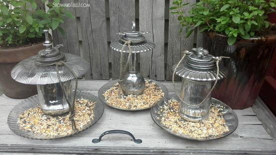 Diy Mercury Glass Ornamental Bird Feeders Stow Amp Tellu