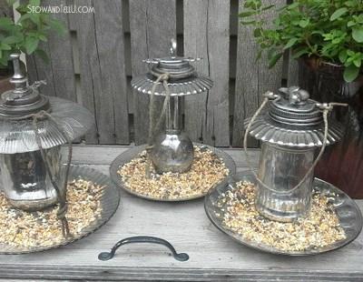 DIY Mercury Glass Ornamental Bird Feeders