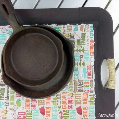 Delicate Little Decoupaged Camping Tray