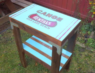 salvaged-table-vintage-canoe-rental-sign