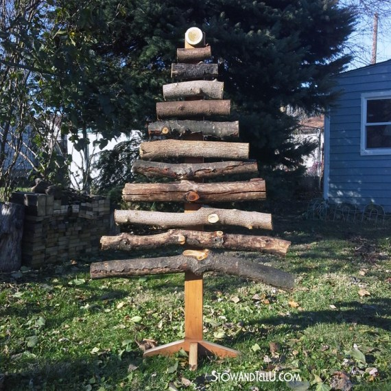 Rustic DIY stacked log or branch Chirstmas tree