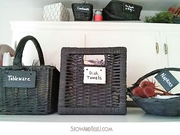 Storage Baskets Painted with Chalkboard Paint | stowandtellu.com