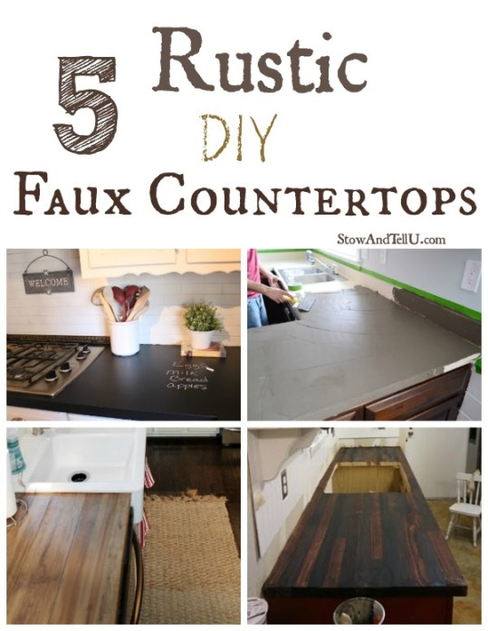 faux countertops, rustic kitchen ideas,http://www.stowandtellu.com