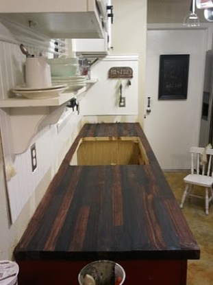 5 rustic diy faux countertops stow tellu - Diy faux butcher block countertops ...
