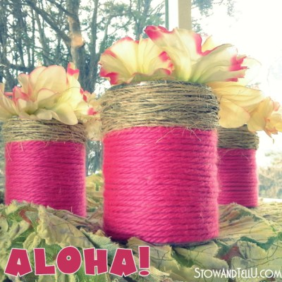 Aloha Pink Monday at Thrifty Rebel: Yarn Wrapped Tin Cans