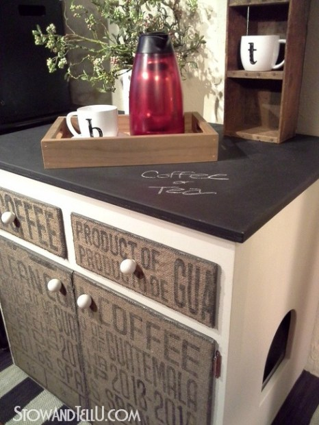 Diy Decoupaged Coffee Sack Furniture Cabinet Stow Amp Tellu