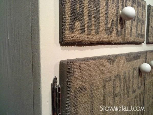diy-burlap-covered-doors-drawers-http://www.stowandtellu.com