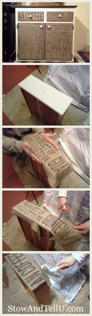 how-to-decoupage-burlap-coffee-sack-furniture-cabinet-http://www.stowandtellu.com