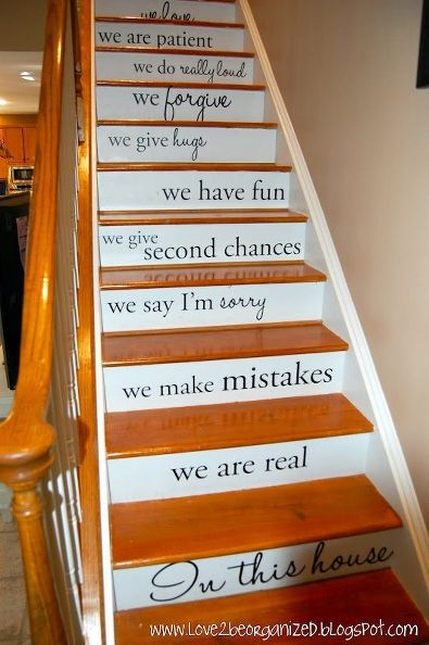 Lovely There So Many Ways To I Could Think Of Personalizing This Idea For Our  Stairs, But The Bottom Line Is Using Stencils To Paint Words And Phrases  Onto The ...