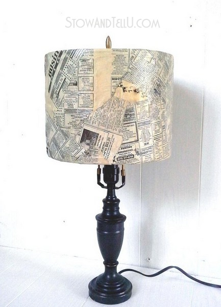 old-newspaper-lampshade-with-decoupage-http://stowandtellu.com