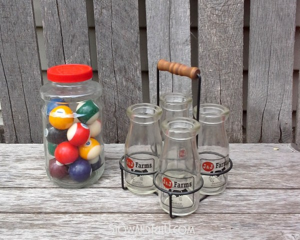 pool-balls-milk-bottles-montana-charlies-flea-market-finds-http://stowandtellu.com