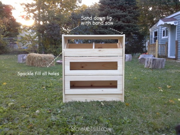 Directions for how to make a potato, vegetable, onion bin Ikea Rast hack by Stow and Tell U featuring Pittsburgh Paints and Stains and Hickory Hardware.