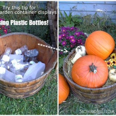 Was a barrel of plastic bottles, now a barrel of pumpkins!