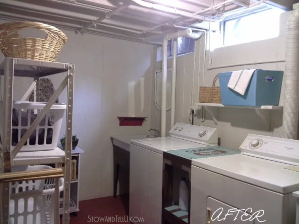 "An open beam ceiling basement laundry room makeover done by painting the ceiling, walls and floor and a ""use what you have approach"" for the rest of the updates. Stow and Tell U"