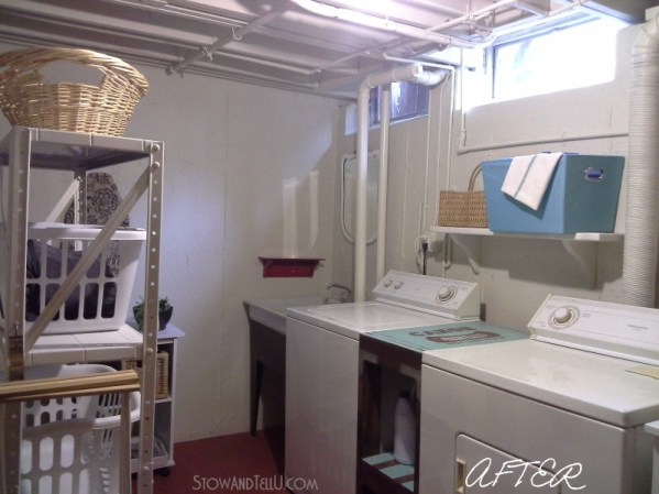 """An open beam ceiling basement laundry room makeover done by painting the ceiling, walls and floor and a """"use what you have approach"""" for the rest of the updates. Stow and Tell U"""