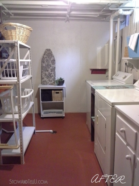 """Basement laundry room is updated almost exclusively with paint, several diy repairs and a """"use what you have"""" approach from Stow and Tell U"""
