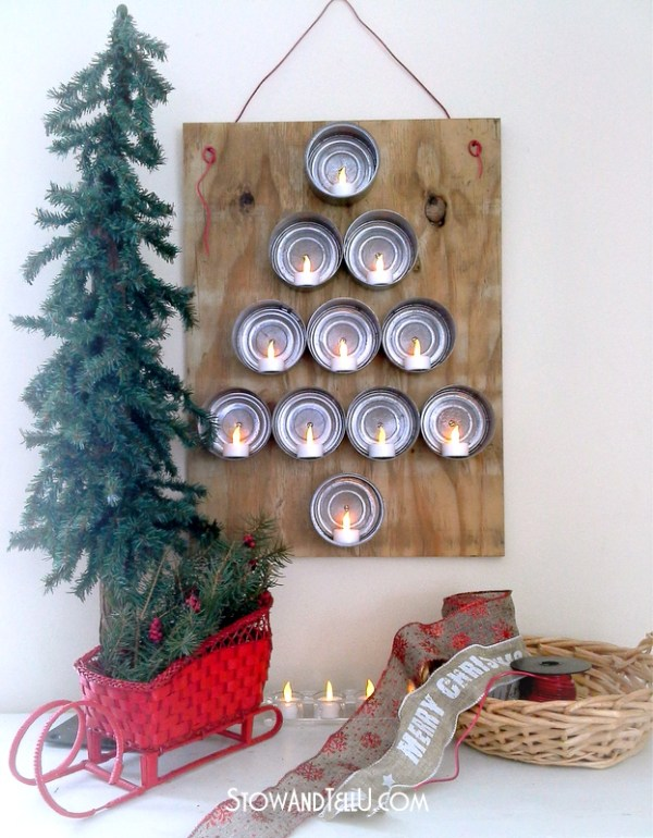 Low Profile Lighted Tuna Can Christmas tree