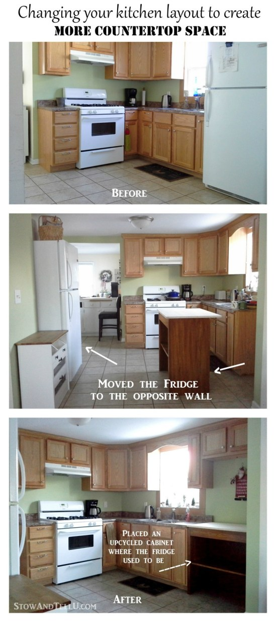 If you'd like to create more kitchen countertop space, one way to make that happen is by changing the kitchen layout if possible. See how this was done with only a few changes at StowandTellU.com