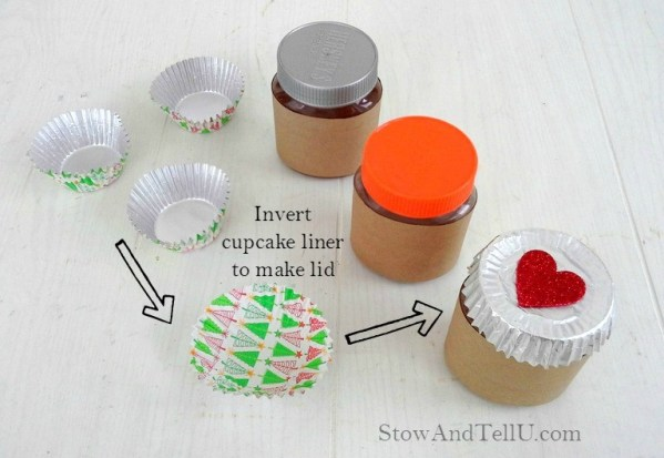 How to make a jar lid cover with a cupcake liner. This one is used to make Valentine gift jars with Reese's and Hersheys chocolate nut butters from Stow and TellU