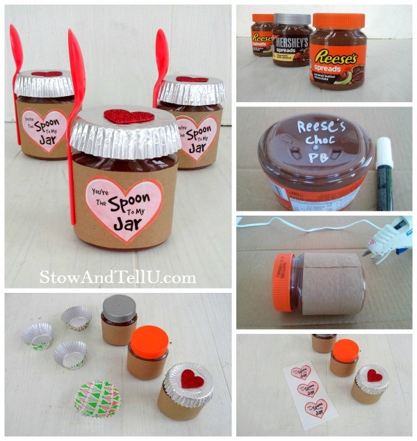 Sweet Valentine jar gift idea using Reese's and Hershey's chocolate nut butter spreads, includes printable labels from Stow and TellU.com