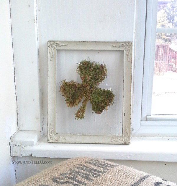 Use the glass and frame only from a vintage frame to make an easy framed moss shamrock or any moss shape that works for you. Rustic, simple look for St Patrick's Day or Spring decor - StowandTellU.com