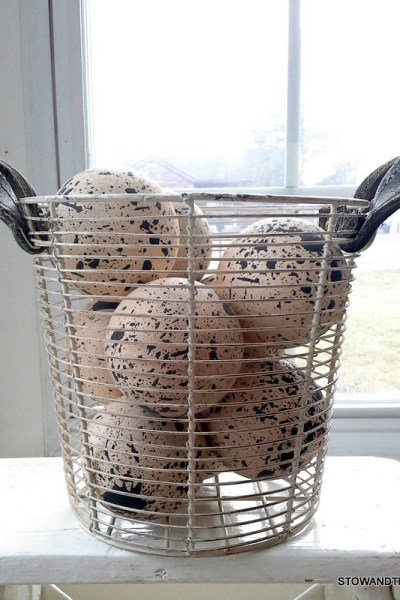 Basket o' Faux Speckled Farmhouse Eggs