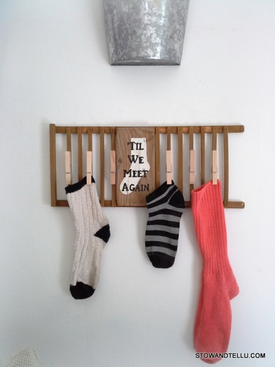 Missing or lost sock laundry room sign upcycled from wooden dish rack - StownadTellU.com
