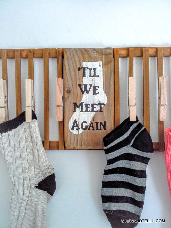Lost or missing sock laundry sign from a wooden dish rack repurpose - StowandTellU.com