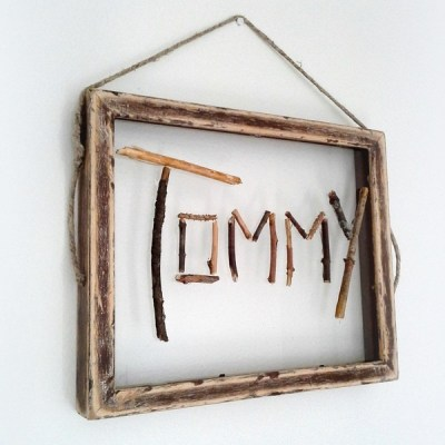 When you spell a child's name with twigs, then art happens!