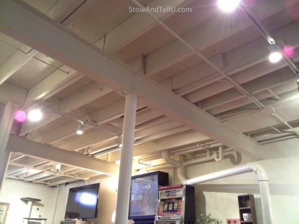exposed-beam-basement-ceiling-painted-StowAndTellU.com