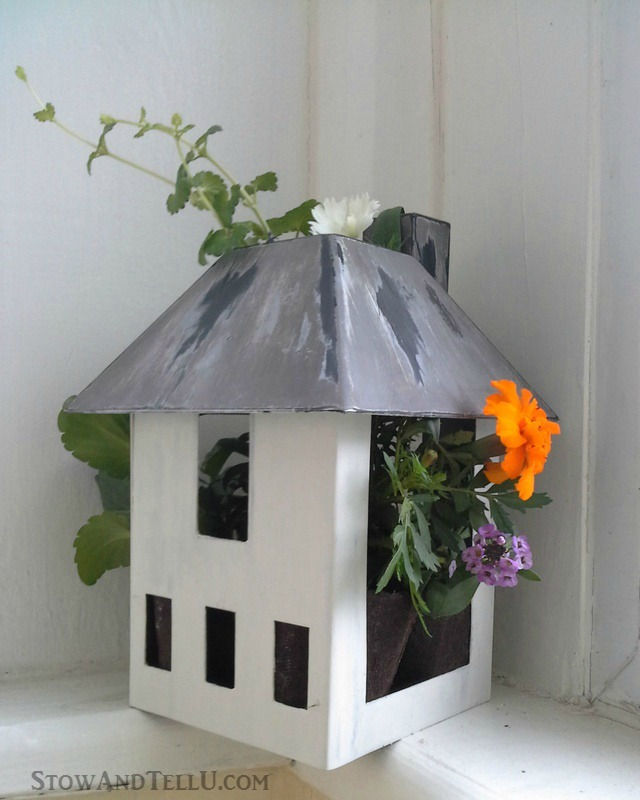 how-make-birdhouse-planter-upcyled-miniature-house-garden-planter - StowandTellU.com