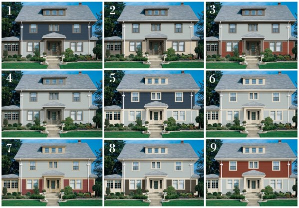 Blue house color combinations that include dark gray, cream, navy and rusty red - StowandTellU.com