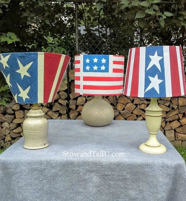 Old table lamps are painted to look like the American flag and turned into patriotic outdoor solar lamps - StowAndTellU.com
