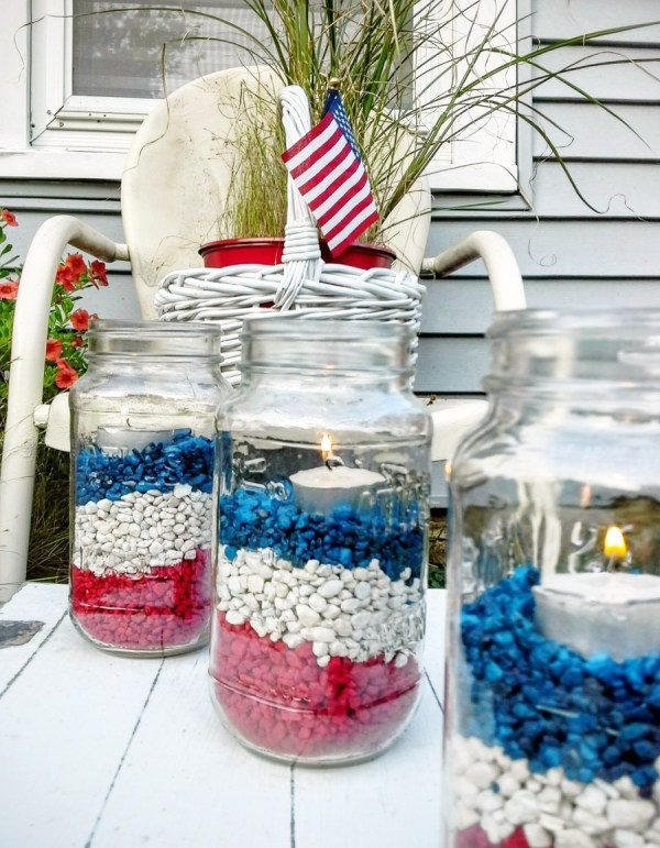 fourth of july ideas - gravel filled jar luminaries - StowAndTellU.com