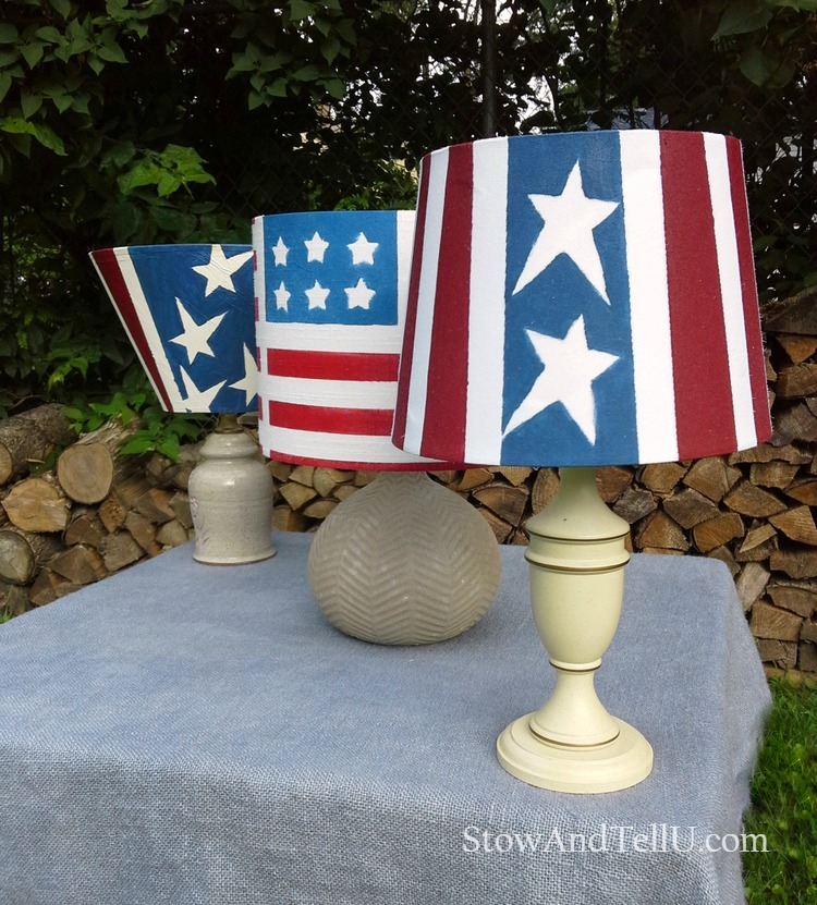 Old Table Lamps Are Painted Red, White And Blue And Turned Into Patriotic  Outdoor Solar
