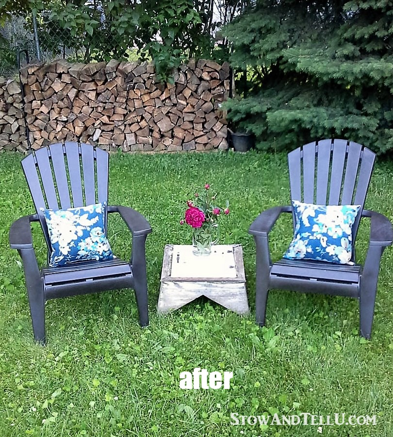 spray paint and plastic lawn chairs