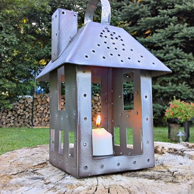 Miniature Tealight House to Mock Punch Tin Lantern