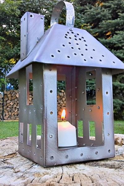 Miniature Tealight House to Mock Punch Tin Lantern