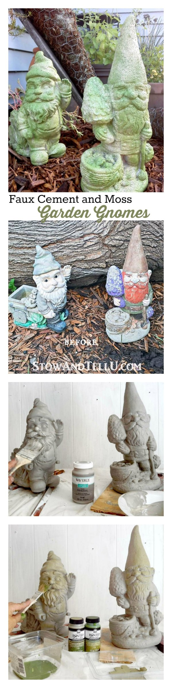 faux cement chalk paint technique - fake moss paint garden gnomes - StowAndTellU.com