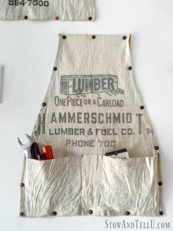 Old work apron hanging storage idea - StowAndTellU.com