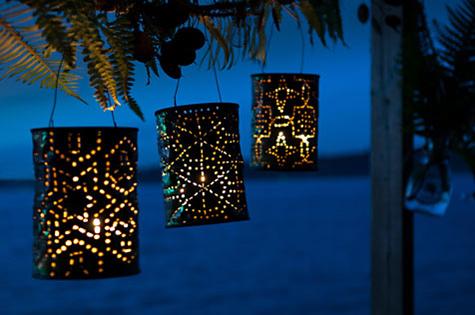 Hanging faux punched tin lanterns - StowandTellU.com