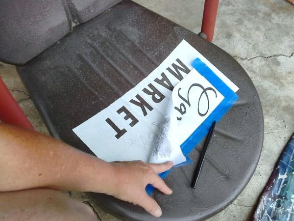 Paint sign on metal shell back chair - StowandTellU.com
