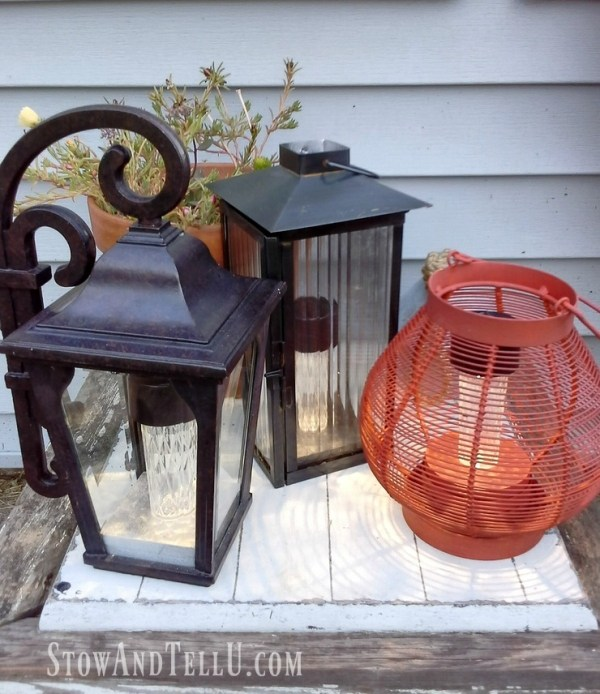 upcycled lanterns as solar lighting - stowandtellu.com
