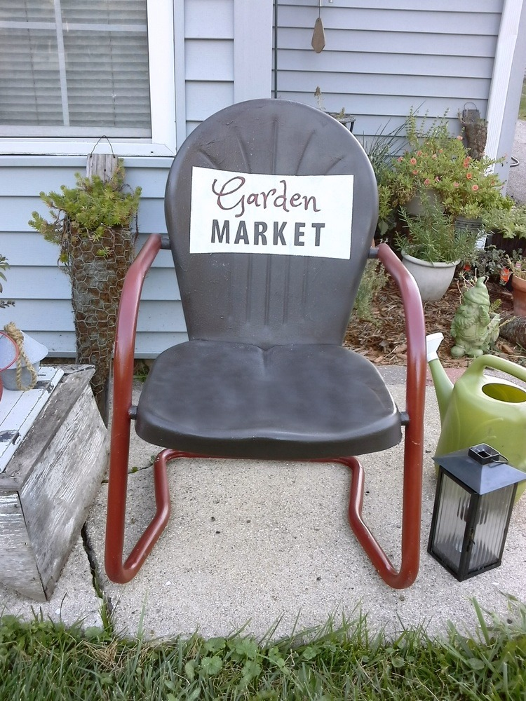 Vintage Metal Lawn Chair Painted With Sign   Stow U0026 TellU